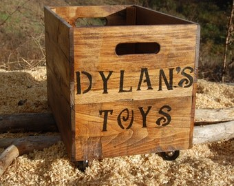 Provincial Personalized Rolling Crate/ Wooden Crate/ Storage/ Reclaimed Wood