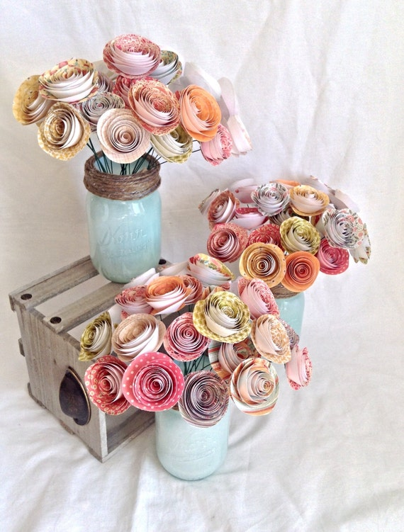 Table numbers. Wedding centerpiece. paper roses. rustic