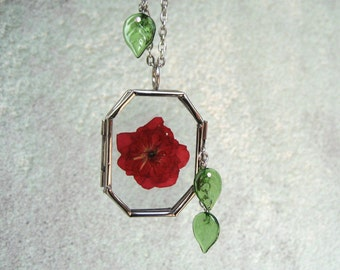 Pressed Rose Locket Necklace - Dried Rose And Green Glass Leaves - Long glass Locket Necklace - Garden Necklace - Piece Lust