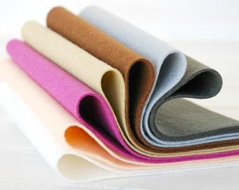 """100% Wool Felt Sheets - """"Portrait  Color Collection""""  - 7 Wool Felt Sheets of 8"""" x 12"""" -  Wool Felt Sheets Bundle - Pure wool felt"""