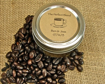 Wedding Coffee or Tea Favors - Mason Jar Wedding Favors - 20 Four Ounce Quilted Mason Jars - tf