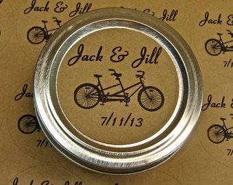 Personalized Wedding Favor Labels - 20 - 2 Inch Circles - Tandem Bike Design On Kraft Labels
