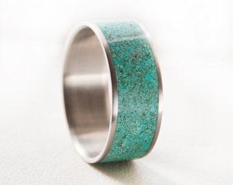 Mens Wedding Band Turquoise Ring