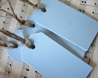 4 Hand Painted Wooden Tags,  Soft Sky