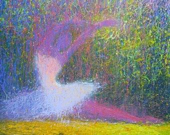Abstract giclee print, Ballerina Art Canvas Print - Modern Dancer Art Print - Colorful Print Rainbow Art