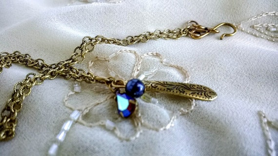 Vintage Victorian Antique Gold Chain with Etched flower , purple crystal aurora borealis and glass pearl Necklace