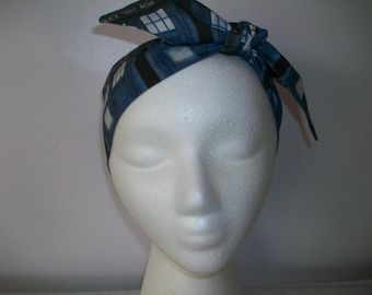 Blue Police Boxes Headband / Hair Tie Dark Back Ground