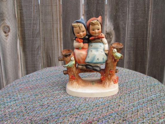 Discounted M I Hummell Figurine Two Girls Sitting On The Fence