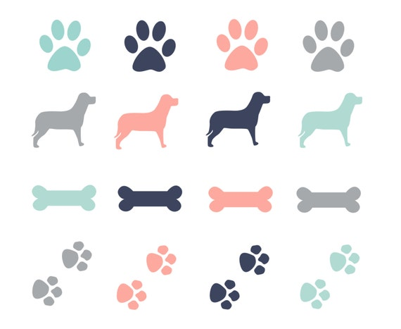 OFF SALE Paw Prints Dogs Clipart Dog Bone Clip Art Digital ElementsPink Dog Bone Clipart