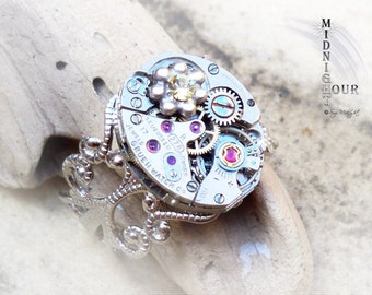 Steampunk Ring Silver tone Adjustable Ring with Gruen watch movement and Swarovski Crystal No.55