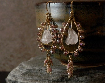 SALE Small Chandelier Earrings with Rose Quartz and Fire Polished Faceted Crystals - Pink, Dusty Rose, Lilac - Ships FREE within the USA