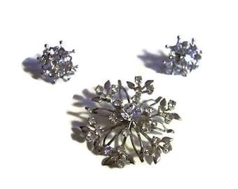 Coro Silvertone RHINESTONE Demi Parure Brooch & Earrings Set