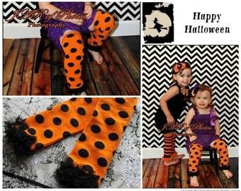 Baby Leg Warmers Halloween Orange Black Polka Dots Leg Warmers - Newborn, baby girl, infant, girls - photo prop