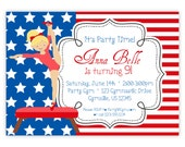 Gymnastic Invitation - Red White Blue, Stars and Stripes, Cute Girl Gymnast Personalized Birthday Party Invite - a Digital Printable File