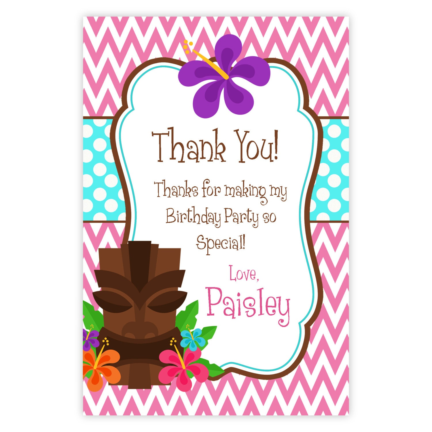 Luau Thank You Card Pink Chevron and Turquoise Polka Dots