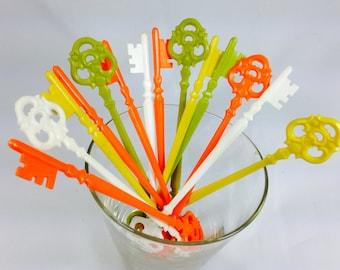Set of 10 Skeleton Key Swizzle Sticks Midcentury colors