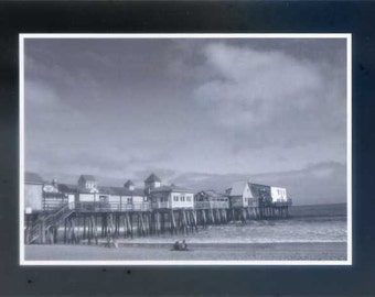 Old Orchard Beach black and white - Photo card