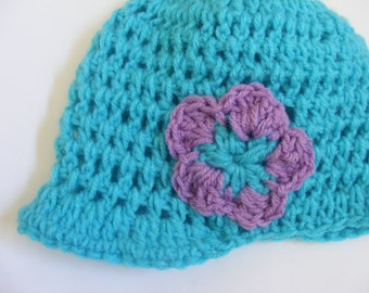 Light Blue Visor Beanie with Lilac Flower for Baby and Toddler Girls NB through 5T