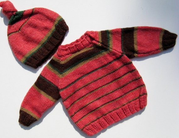 Striped sweater and matching hat in pumpkin and browns newborn