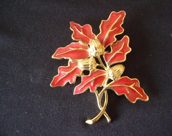 Gold tone Red Enamel Trifari Brooch