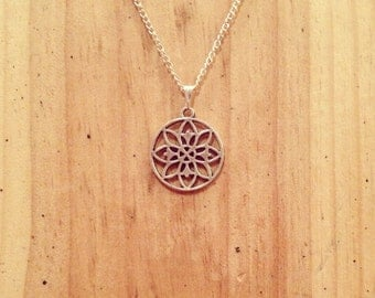 silver round flower pendant necklace on silver chain (18''or 22'')