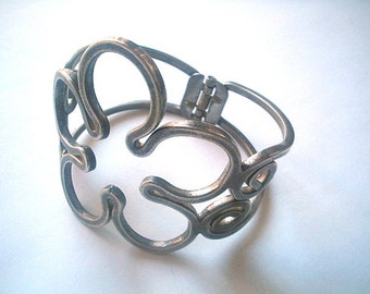 Extra Wide Arm Bangle Pewter Tone Hinged Open Flower