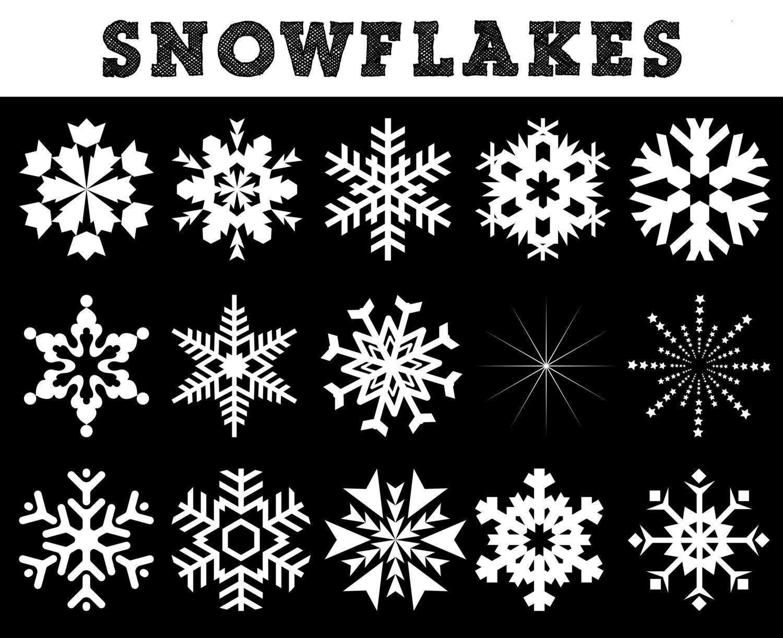 White Snowflakes Silhouettes // Christmas Silhouettes //