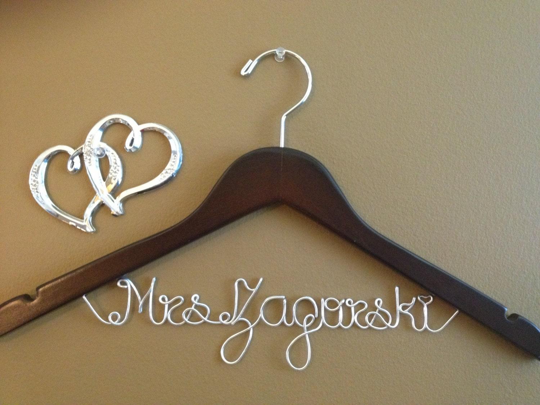 Bridal hanger one line personalized custom bridal hanger for Wedding dress hangers personalized