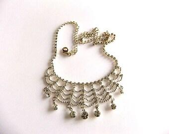 Crystal Rhinestone Bib Necklace Choker