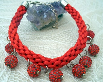 Red Satin Kumihimo Bracelet with Red 'Shamballa' Beads & Champane Gold Plated Fastenings