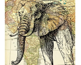 Elephant on a reproduction of a vintage atlas map of India