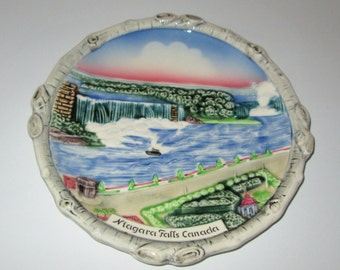 Vintage Rare Majolica Niagara Falls Canada Plate Made in West Germany 1950s