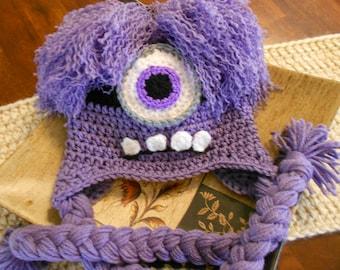 Crochet Evil Minion Hat-Newborn to Adult-Purple