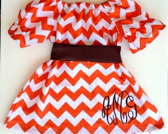 Baby girl thanksgiving outfit, Girls Thanksgiving Dress, Monogram baby clothes, Orange Chevron Dress, fall baby outfit, fall dress for girl