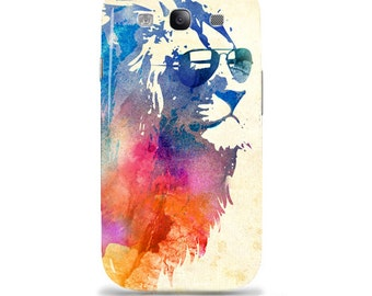 "Samsung Galaxy s3 i9300 - Artist Designed case / cover / shell - ""Sunny Leo"" - colorful cool lion"