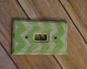 Baby nursery decor/ children's room decor- hand painted light switch plate cover-green and white chevron/ shabby chic