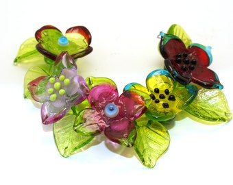 Pearly Karpel Lampwork Flower and Leaf Beads (11) SRA