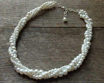 White Pearl Necklace, Wedding Necklace, Pearl Bridal Twisted Necklace, Simple Necklace on Silver or Gold Chain