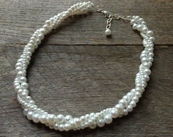 White Pearl Necklace Bridal Necklace Twisted Clusters on Silver or Gold Chain