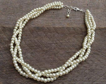 Yellow Ivory Pearl Necklace Bridal Necklace Three Strand Braided Cluster on Silver or Gold Chain