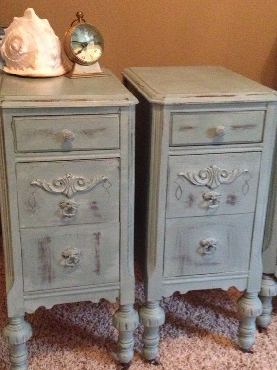 Antique Night Stands Painted Blue Beach Cottage French
