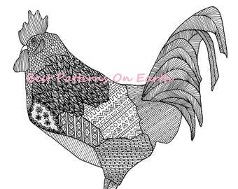 Owl Coloring Page Zen Aztek Aztec Feathers Adult