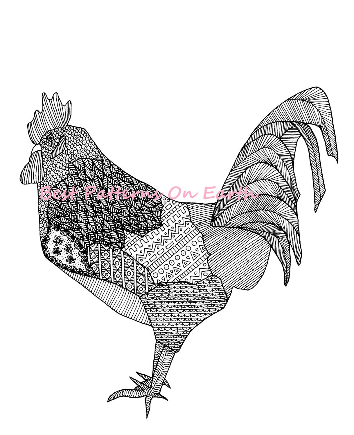 Zen colouring book animals - Rooster Coloring Page Zen Rooster Zendoodle Feathers Adult Coloring Pages Kids Coloring Book Pdf