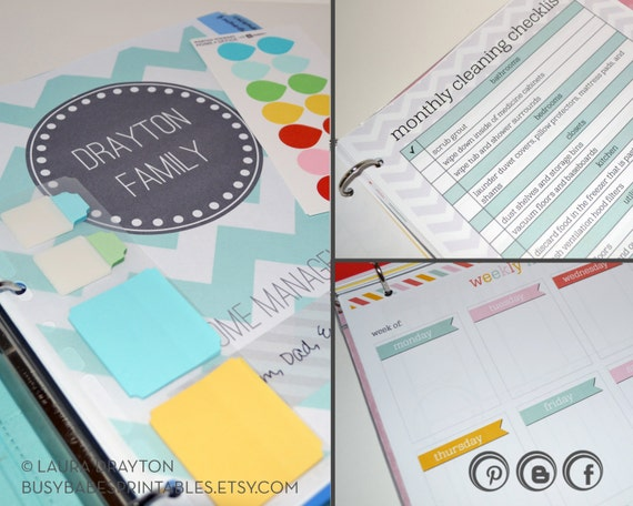Household Management Binder Kit - Home Management Binder - Over 50 Organizing Printables - INSTANT DOWNLOAD