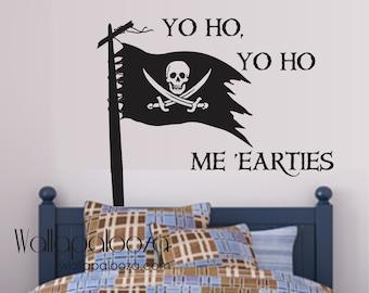 Pirate wall decal - Pirate decal - Boys room wall decal - shiver me timbers - Yo ho yo ho