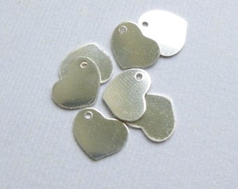 Sterling Silver Heart Stamping Blanks  -- Four Pieces 10mm -- 925 Sterling blank Charms Pendants