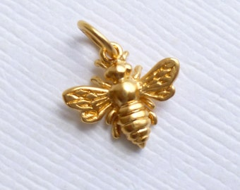 Gold Plated Bronze Honey Bee Charm -- 1 Piece -- Gold Tiny Insect Pendant