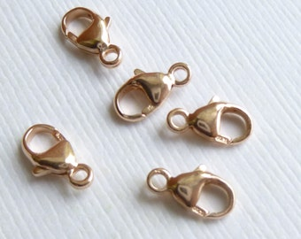 Rose Gold Filled Lobster Clasp -- 5 pieces -- Round 9mm