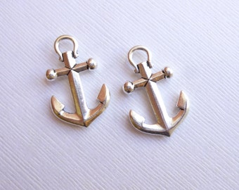 Antiqued Silver Large Size Pewter Anchor Charms --  Pendants -- 2 pieces Tierracast Findings