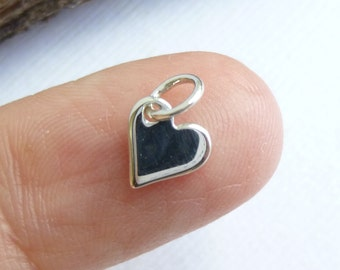 Sterling Silver Heart Charm  -- One Piece Tiny Pendant